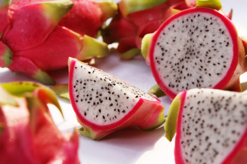 Pitaya. Is rich in nutrition, unique features, it contains general rare plants and plant albumin anthocyanidin, rich in vitamins and water-soluble dietary fiber stock image