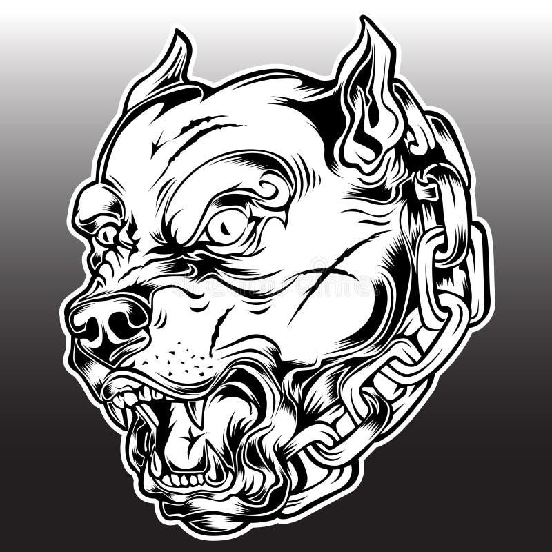 Pitbull Chain Dog Logo Mascot  bulldog Angry Dog Black Vector royalty free illustration