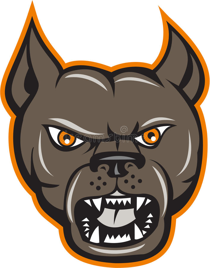 Pitbull Dog Mongrel Head Angry Cartoon royalty free illustration