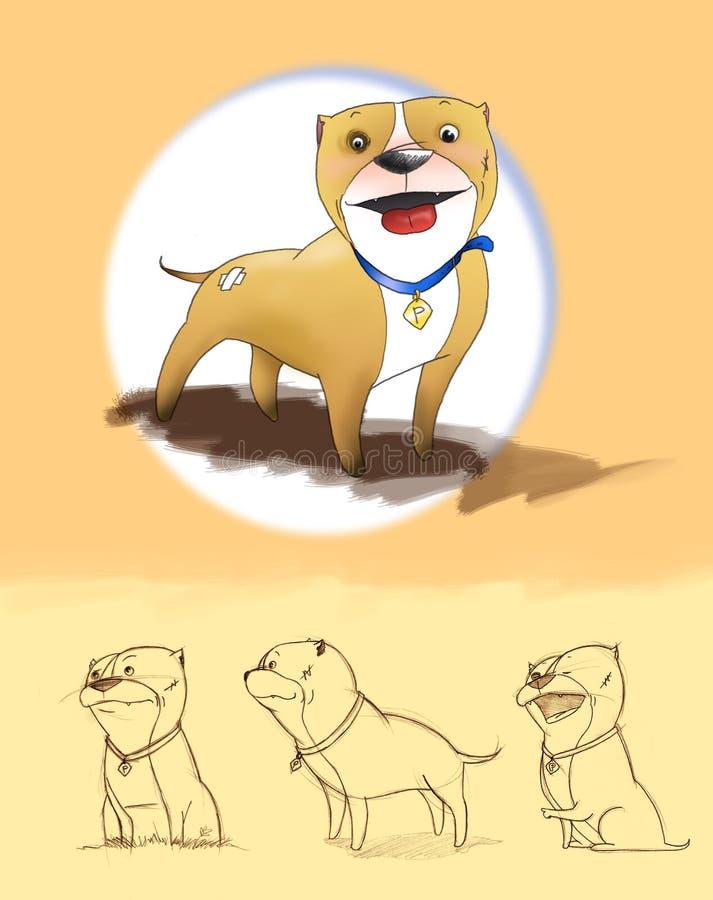 Pitbull Dos Desenhos Animados Imagens de Stock Royalty Free