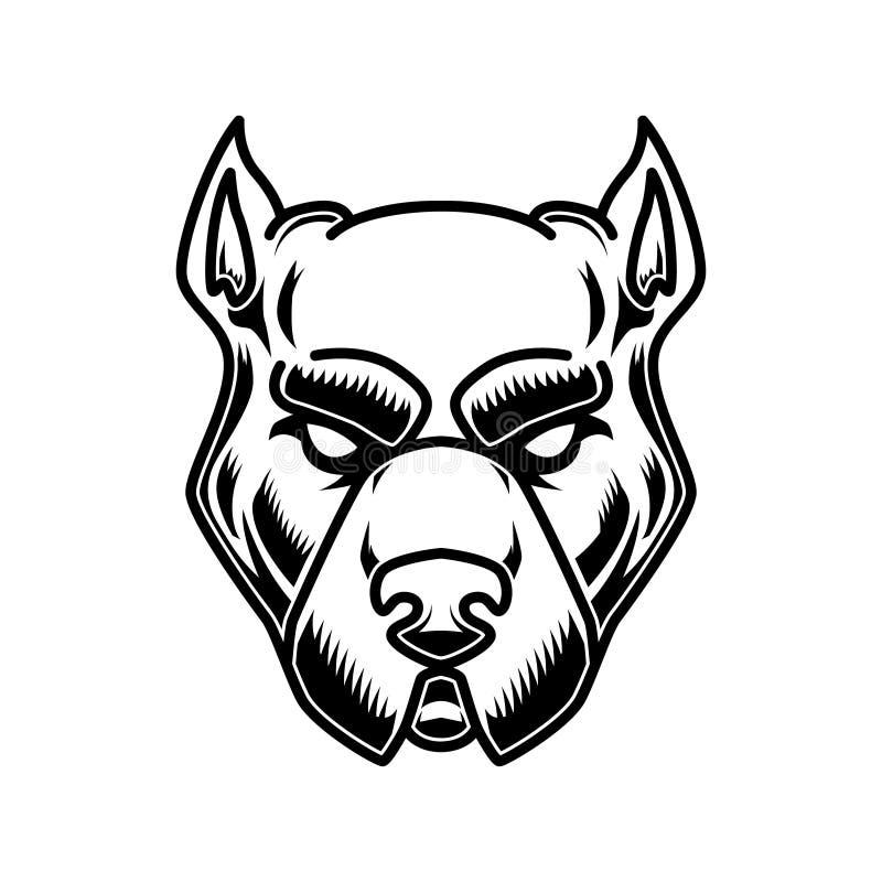 Pitbull głowy ilustracja w rytownictwo stylu Projektuje element dla loga, przylepia etykietkę, podpisuje, plakat, t koszula ilustracja wektor