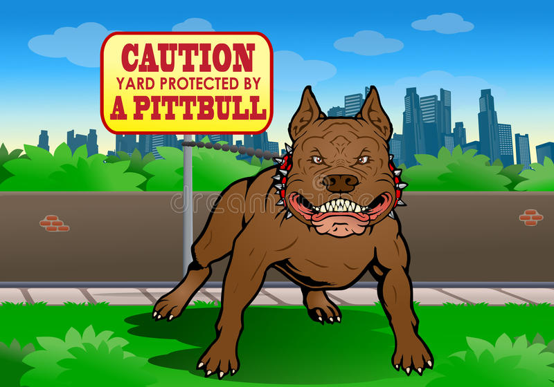 Pitbull guard the yard. Illustration of a hideous Pitbull guard the yard on city background
