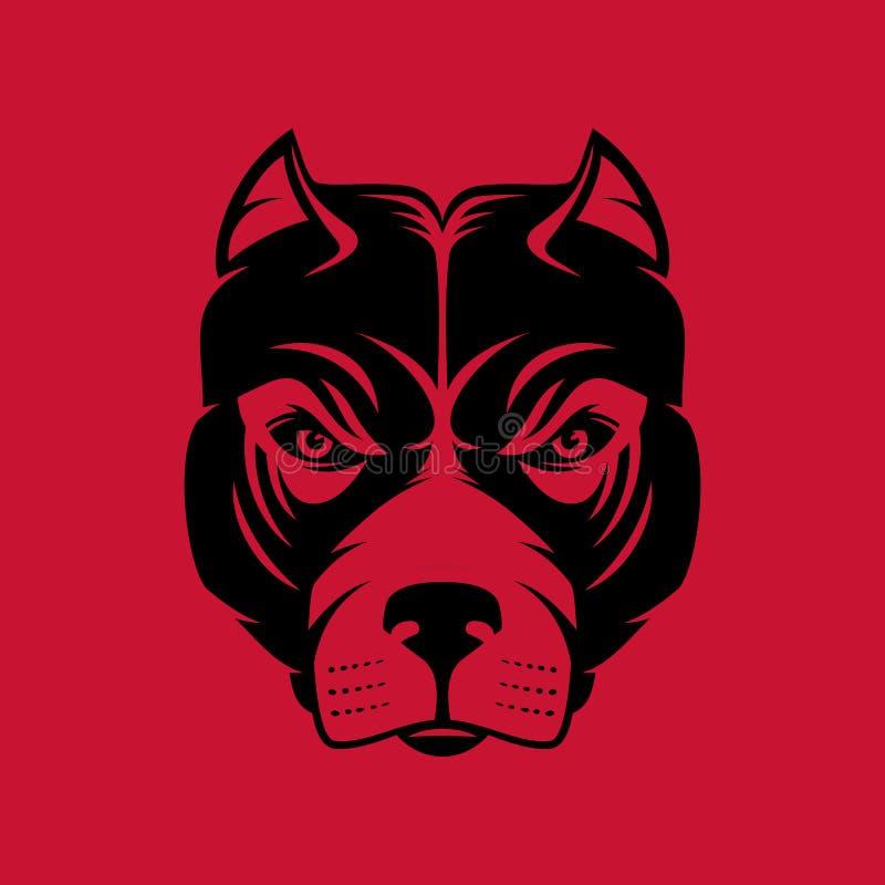 Pitbull Logotipo ou ícone da cabeça de cão em uma cor Ilustração conservada em estoque do vetor ilustração stock