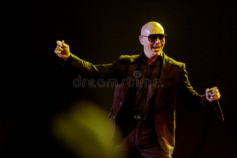 Pitbull Performs in Jakarta stock images