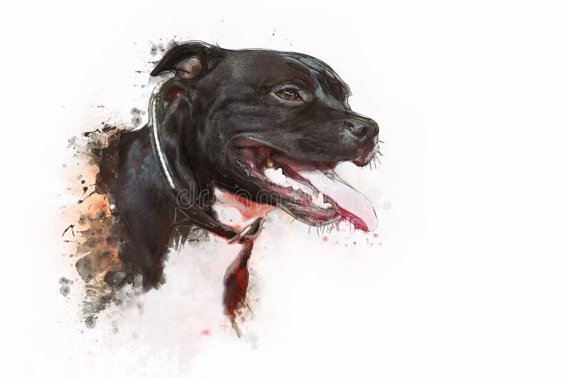 Pitbull Terrier de chien illustration de vecteur