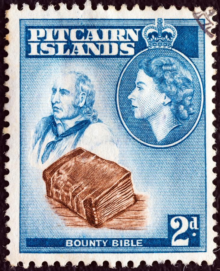 PITCAIRN ISLANDS - CIRCA 1957: A stamp printed in Pitcairn Islands shows John Adams, Bounty Bible and Queen Elizabeth II, circa 19 stock image