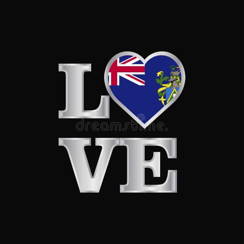Pitcairn Islnand van de liefdetypografie vlagontwerp vector mooi le vector illustratie