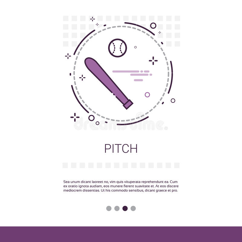 Pitch Bat Sport Game Web Banner With Copy Space stock illustration