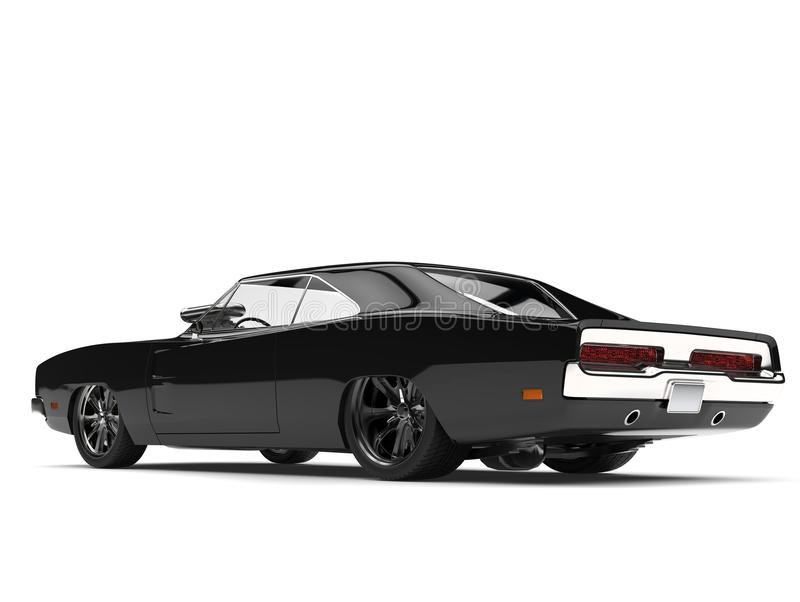 Pitch black American vintage muscle car - rear side view stock illustration