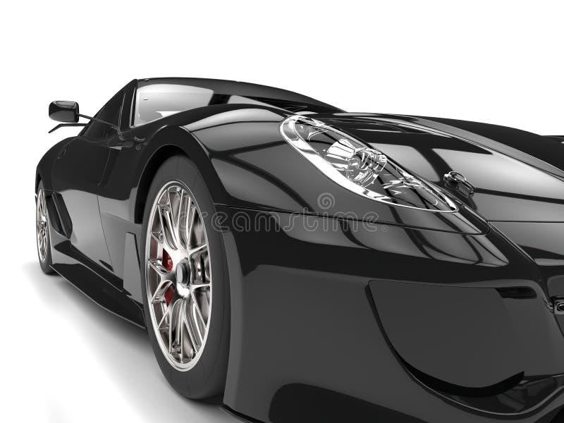 Pitch black modern sports car - headlight closeup shot vector illustration