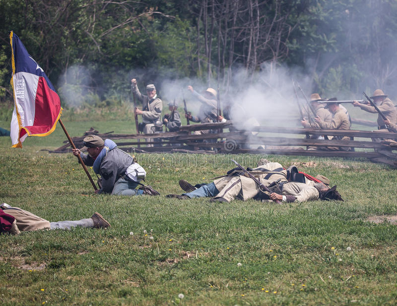 Pitched Battle. Civil War era soldiers in battle at the Dog Island reenactment in Red Bluff, California stock images