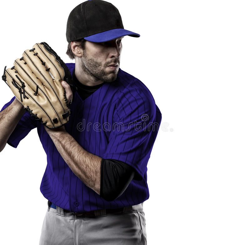 Pitcher Baseball Player. With a blue uniform on a white background stock image