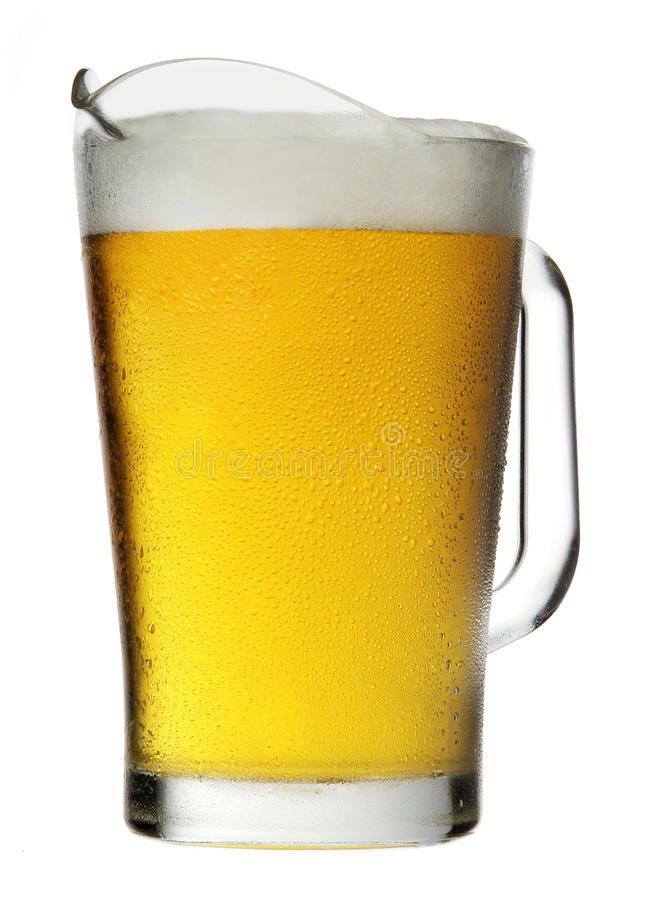 Pitcher of Beer with Foam stock photos