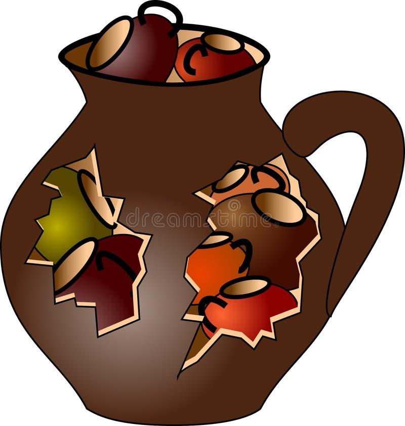 Pitcher full of small mugs stock image