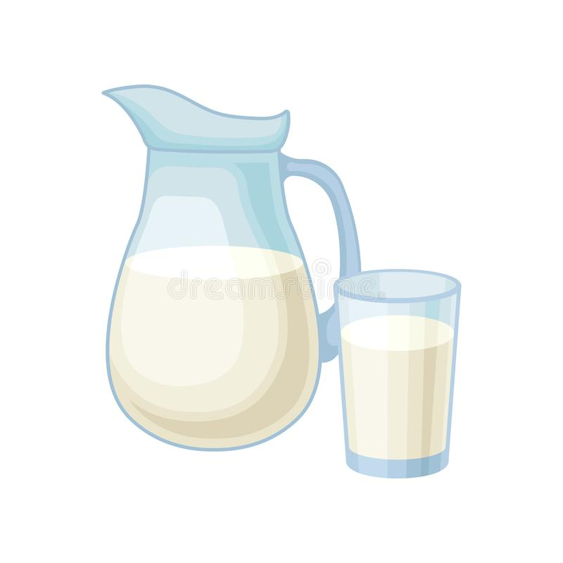 Pitcher and glass of milk, healthy fresh dairy product vector Illustration on a white background stock illustration