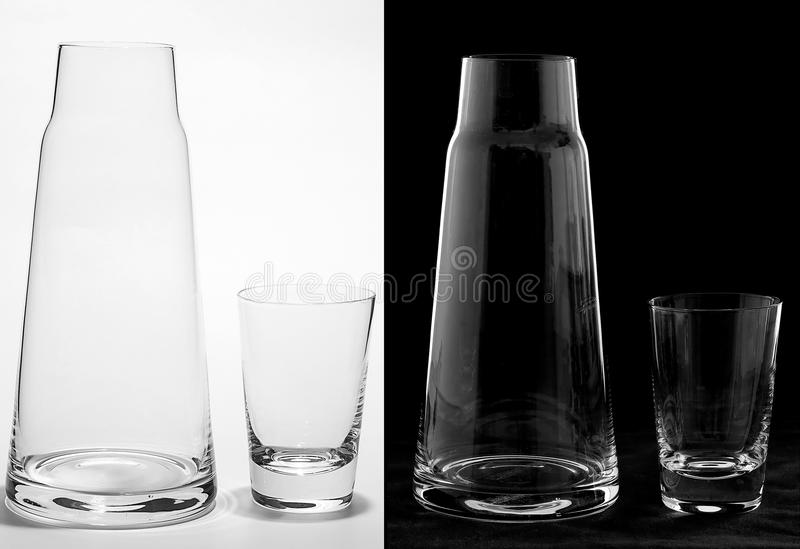 Pitcher and Glass on White and Black royalty free stock photos