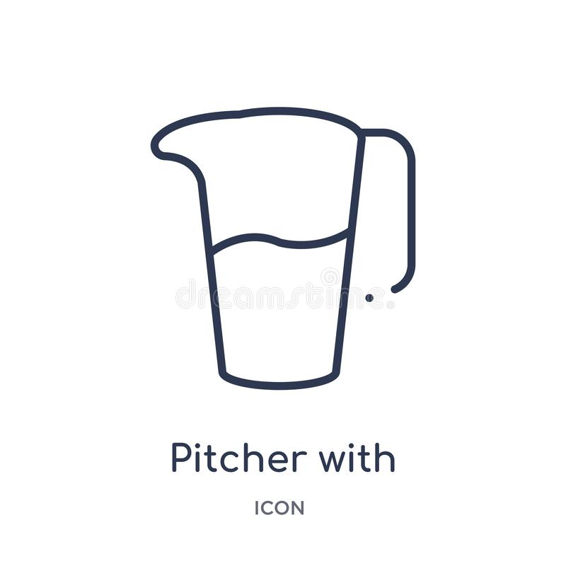 pitcher with levels icon from tools and utensils outline collection. Thin line pitcher with levels icon isolated on white vector illustration