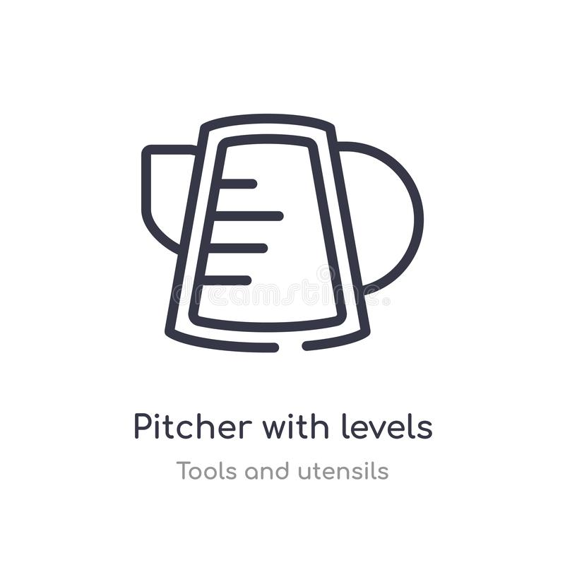 pitcher with levels outline icon. isolated line vector illustration from tools and utensils collection. editable thin stroke vector illustration