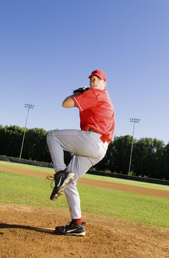 Pitcher Ready To Throw Ball royalty free stock photos