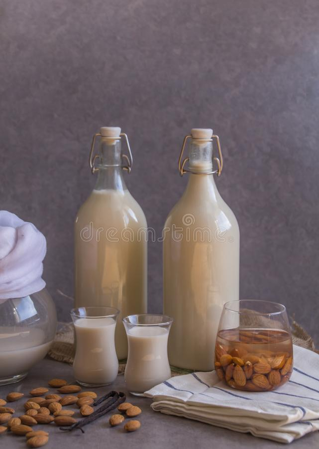 Pitcher, two bottles and two small glasses filled with homemade Almond milk on rustic grey background, raw almond nuts, vanilla be. Ans. Copy space Healthy stock photography