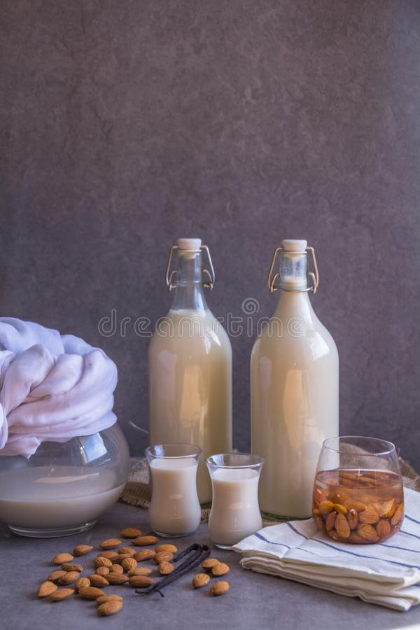 Pitcher, two bottles and two small glasses filled with homemade Almond milk on rustic grey background, raw almond nuts, vanilla be. Ans. Copy space Healthy royalty free stock image