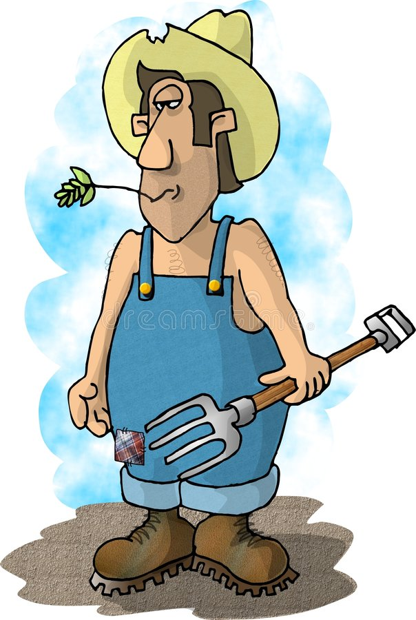 Download Pitchfork farmer stock illustration. Image of workman, coverall - 54742