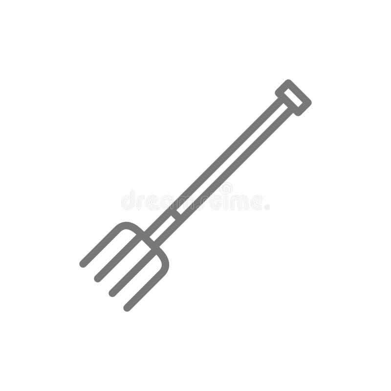 Pitchfork, fork line icon. stock illustration