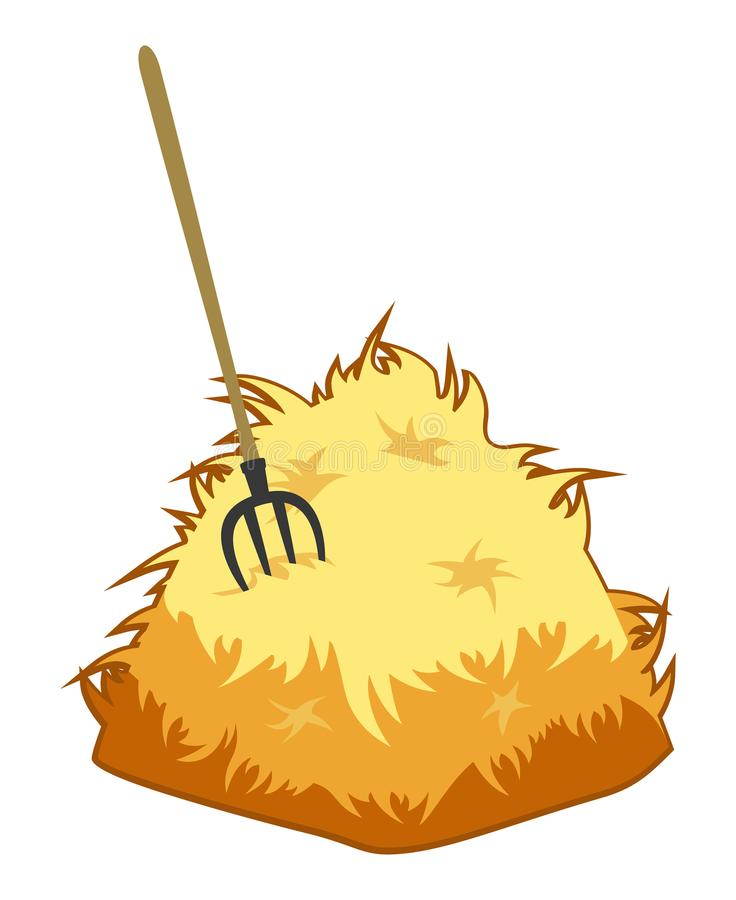 Pitchfork and a haystack on a white background. Agricultural object. vector vector illustration