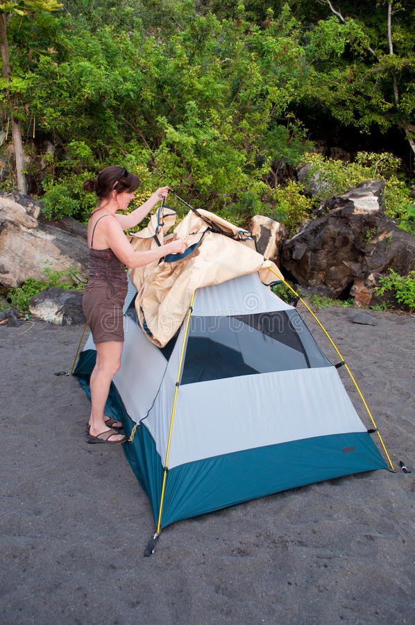 Download Pitching A Tent-C&ing stock photo. Image of female - 18177296 & Pitching A Tent-Camping stock photo. Image of female - 18177296
