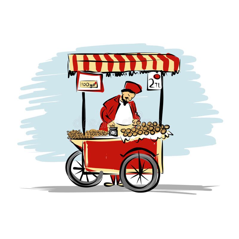 Pitchman with cart of food for your design vector illustration