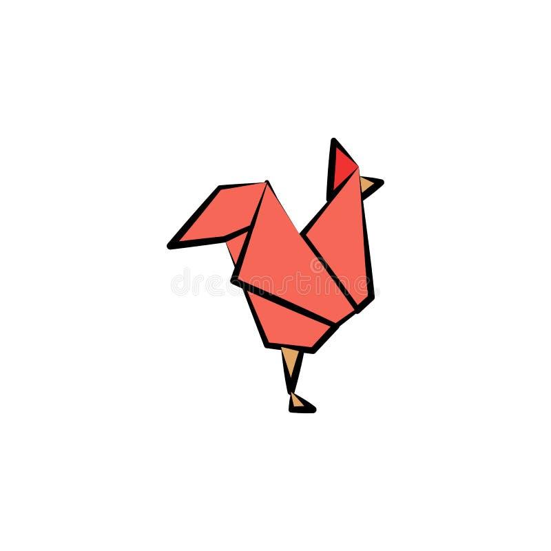 pitech het gekleurde pictogram van de origamistijl Element van dierenpictogram Gemaakt van document in origami pictogram van de t royalty-vrije illustratie