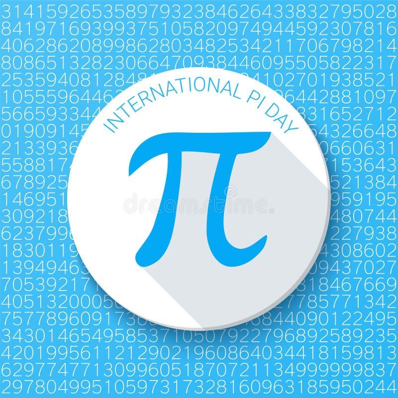 Pitecken på en blå bakgrund Matematisk konstant, irrationellt nummer Abstrakt vektorillustration för en pidag royaltyfri illustrationer