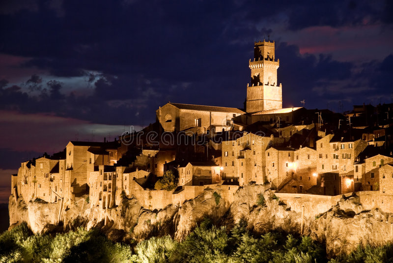 Pitigliano, tuscany village. Pitigliano by night, typical village of the italian tuscany land stock image