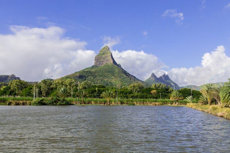Piton de la Petite mountain in Mauritius panoramic.  royalty free stock photo