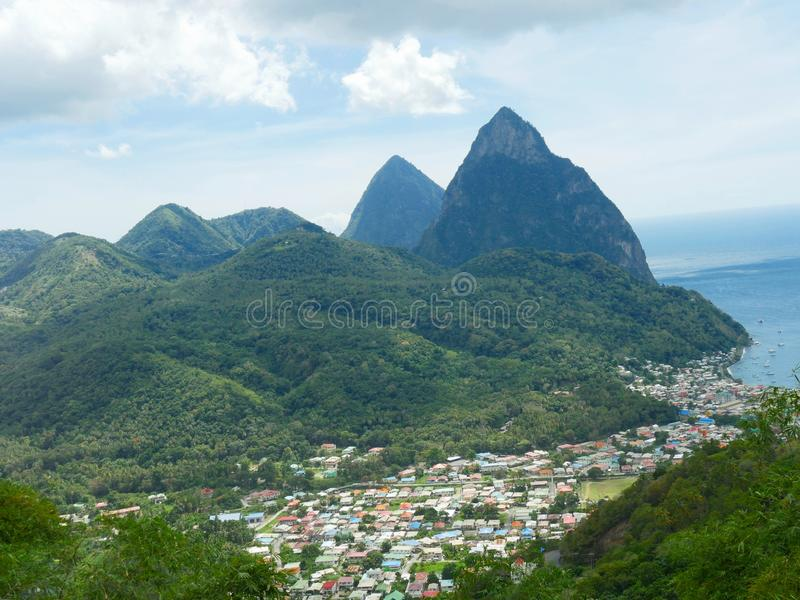 Piton Mountains, St Lucia stock image