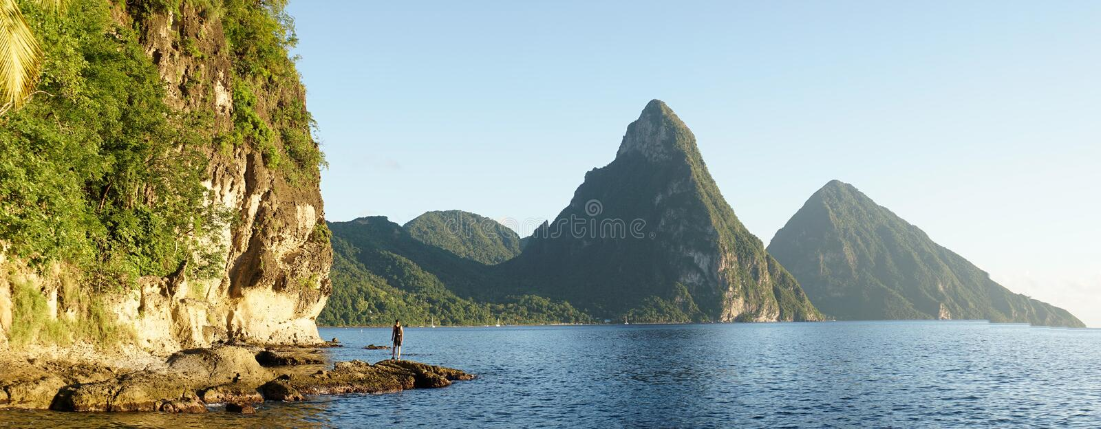 The Piton Mountains on the tropical Caribbean Island Saint Lucia.  royalty free stock images