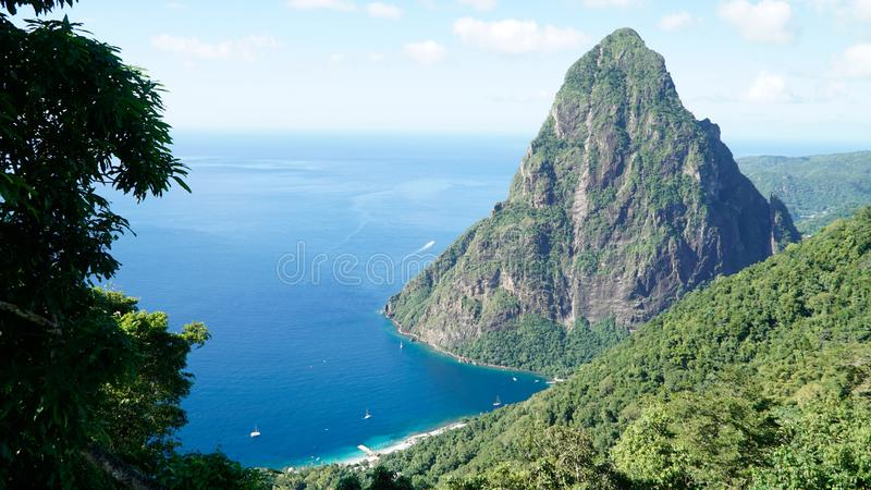The Piton Mountains on the tropical Caribbean Island Saint Lucia.  royalty free stock image