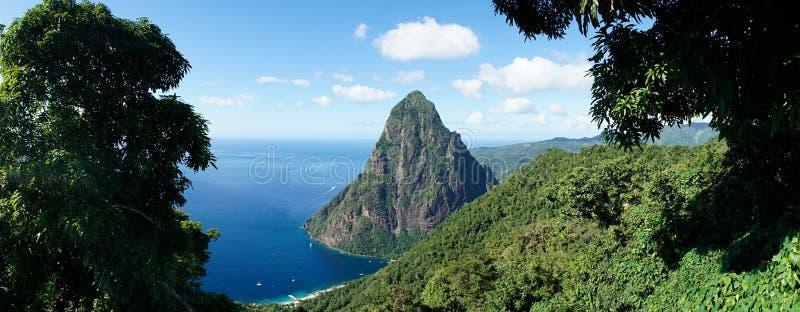 The Piton Mountains on the tropical Caribbean Island Saint Lucia.  stock photo
