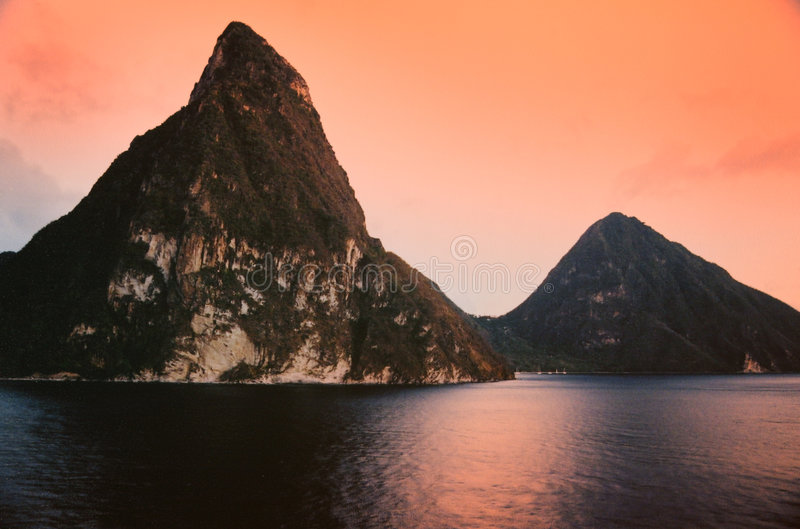 Pitons from Sea stock images