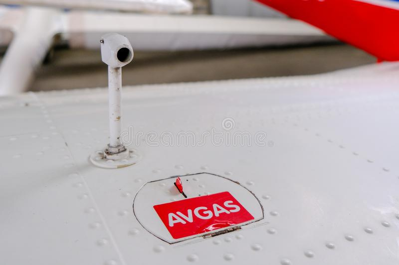 Pitot probe on top of light aircraft wing, close up detail. With fuel tank latch stock images