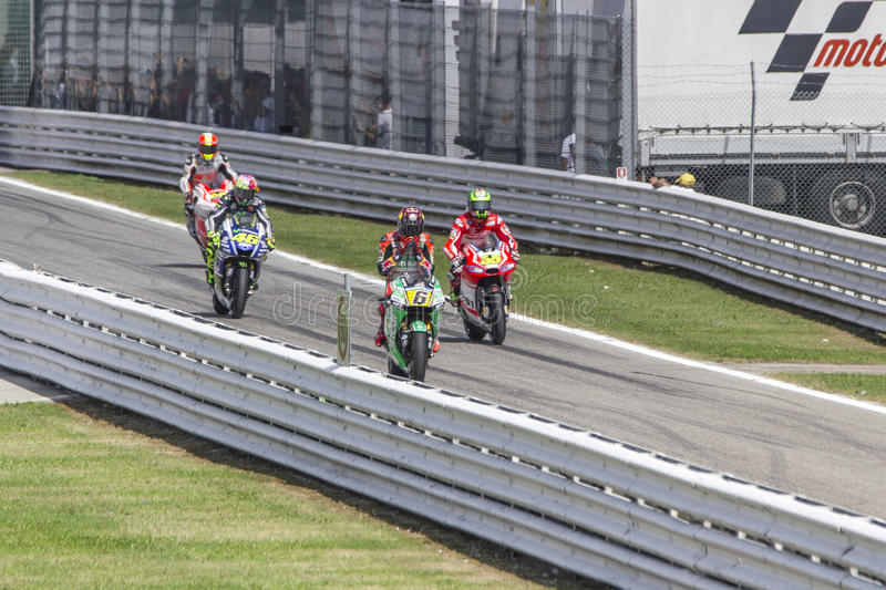 Pits exit Misano MotoGP race royalty free stock photography
