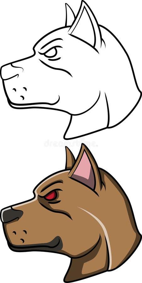 Pitt Bull Head illustrazione vettoriale