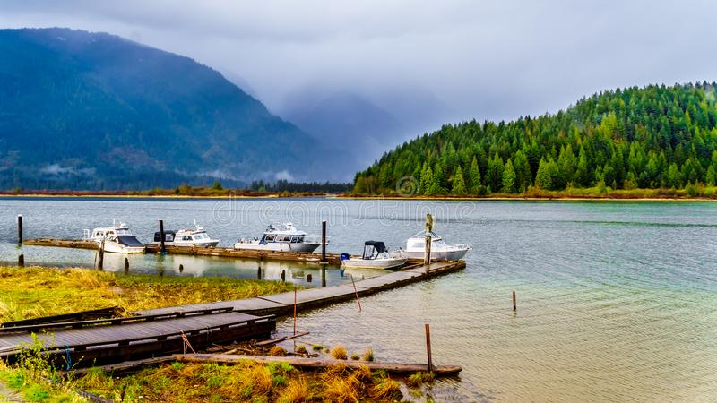 Fishing and Pleaseure Boats moored at the dock at Pitt Lake stock photos