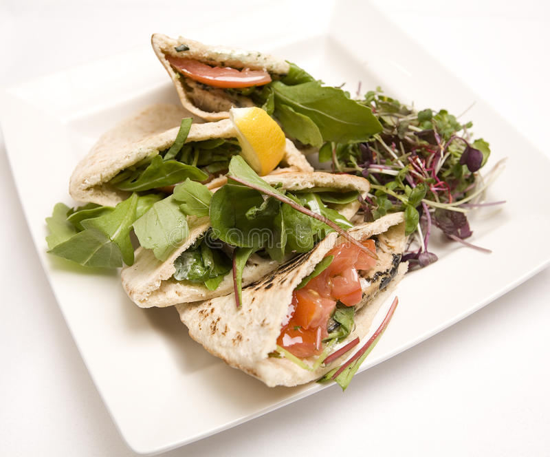 Pitta bread filled with a tuna salad royalty free stock image
