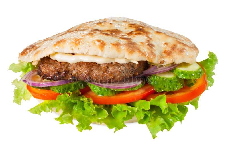 Pitta with hamburger stock photo