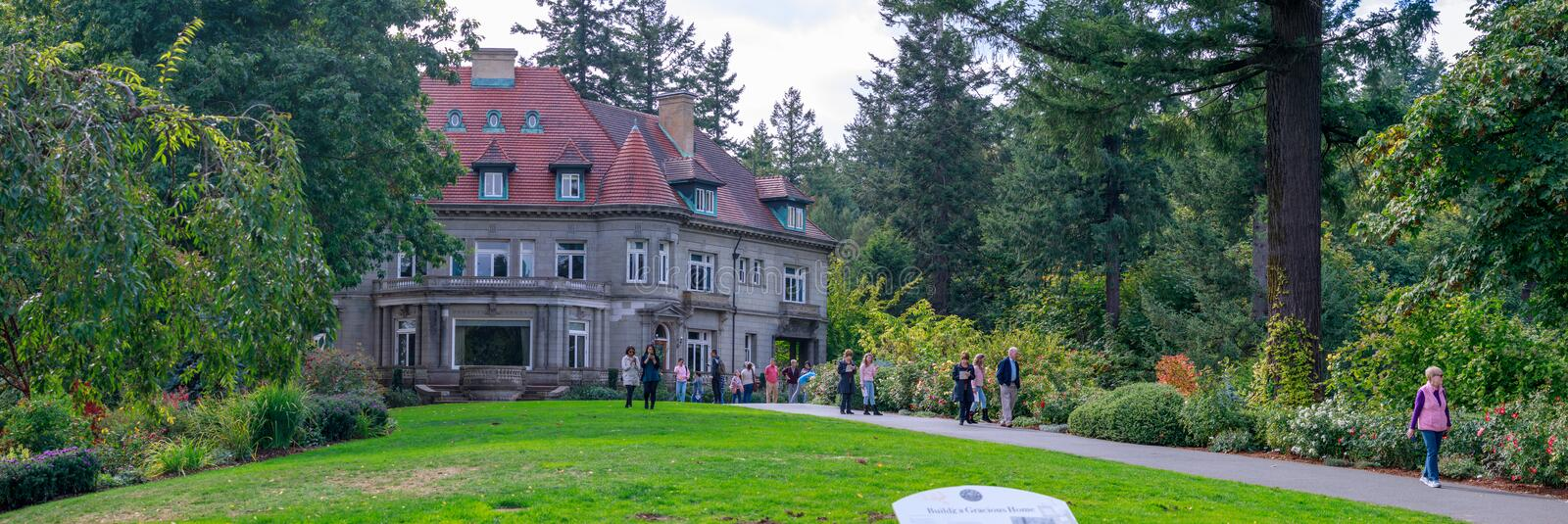 Pittock Mansion - French Renaissance-style chateau in the West Hills of Portland, Oregon, currently Museum stock photo