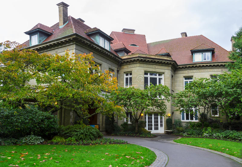 Pittock mansion , Portland Oregon - November 1-st 2014. Autumn colors in the fall. stock photography
