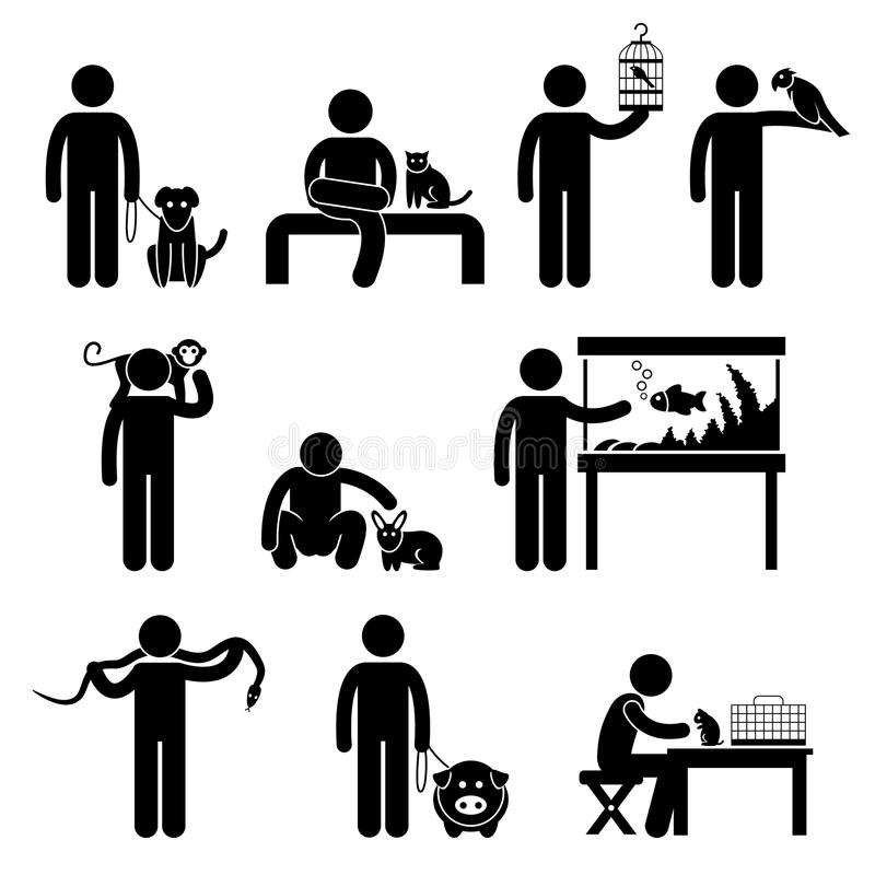 Pittogramma degli animali domestici e dell'essere umano royalty illustrazione gratis