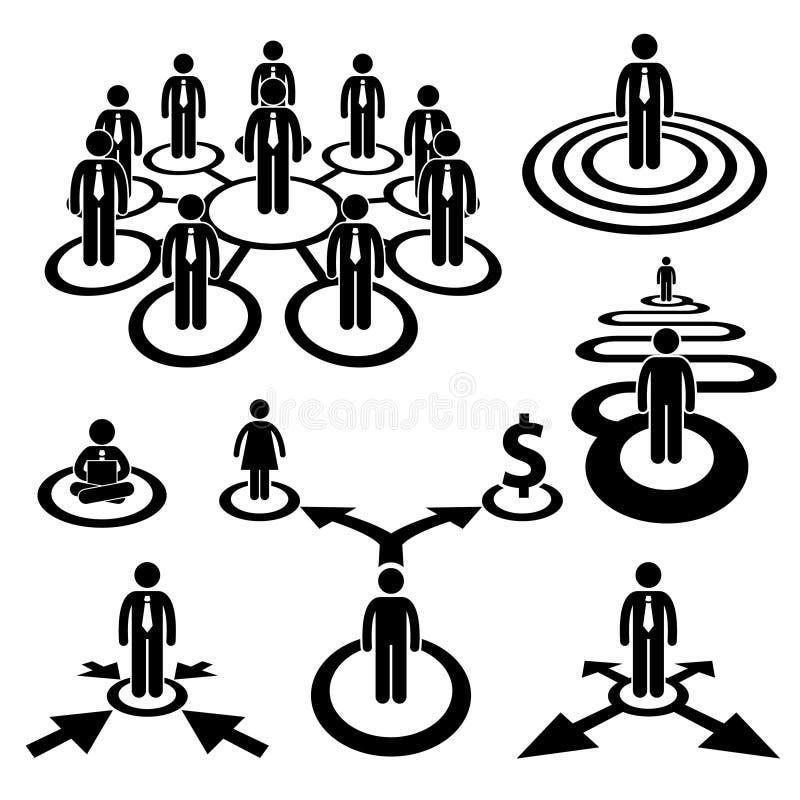 Pittogramma della squadra della mano d'opera dell'uomo d'affari di affari illustrazione vettoriale