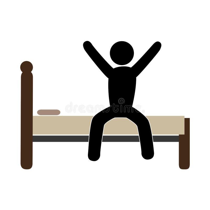 Pittogramma di colore con l 39 uomo a letto sveglio illustrazione vettoriale immagine 86200060 - Far impazzire uomo a letto ...